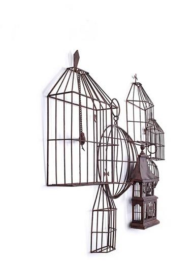 Warm Design Metal Kuş Kafesi Duvar Dekoru Siyah